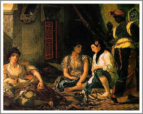 複製画 送料無料 プレミアム 学割 絵画 油彩画 油絵 複製画 模写ウジェーヌ・ドラクロワ「アルジェの女たち」 F10(53.0×45.5cm)サイズ プレゼント ギフト 贈り物 名画 オーダーメイド 額付き