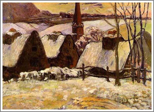 複製画 送料無料 プレミアム 学割 絵画 油彩画 油絵 複製画 模写ポール・ゴーギャン「雪のブルターニュ」 F15(65.2×53.0cm)サイズ プレゼント ギフト 贈り物 名画 オーダーメイド 額付き