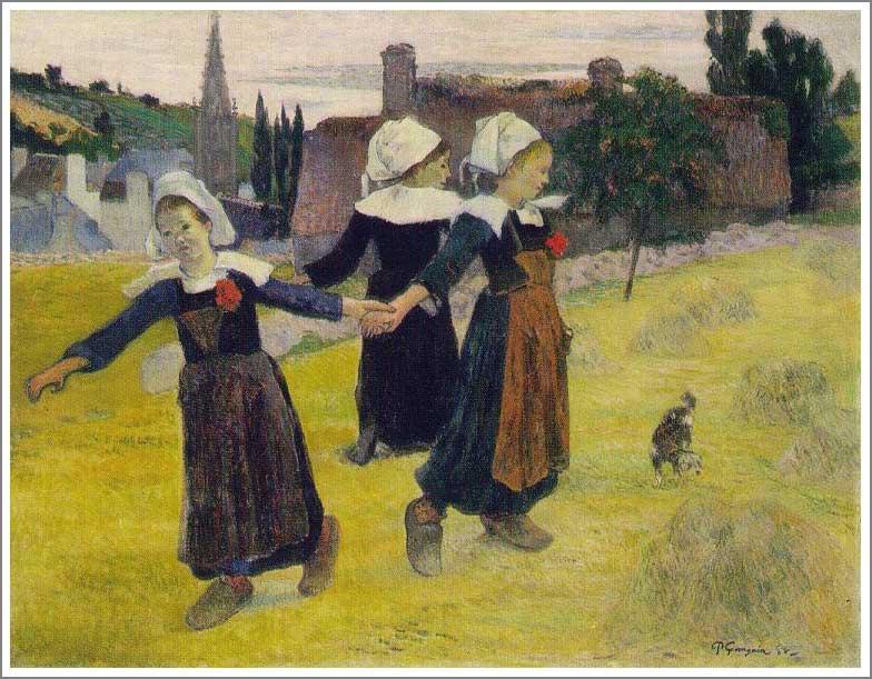 複製画 送料無料 プレミアム 学割 絵画 油彩画 油絵 複製画 模写ポール・ゴーギャン「ブルターニュの3人の少女の輪舞」 F6(41.0×31.8cm) サイズ プレゼント ギフト 贈り物 名画 オーダーメイド 額付き