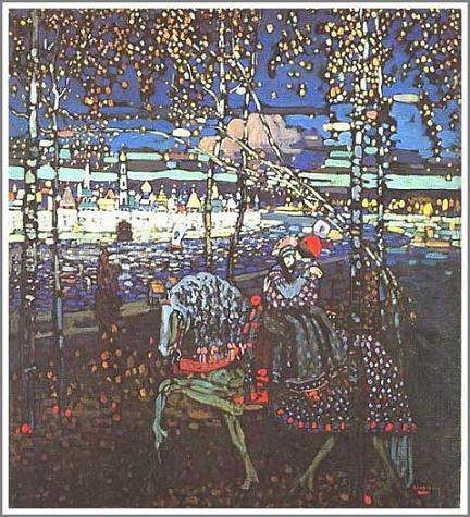 複製画 送料無料 プレミアム 学割 絵画 油彩画 油絵 複製画 模写 ワシリー・カンディンスキー「Riding Couple」 F6(41.0×31.8cm)サイズ プレゼント ギフト 贈り物 名画 オーダーメイド 額付き
