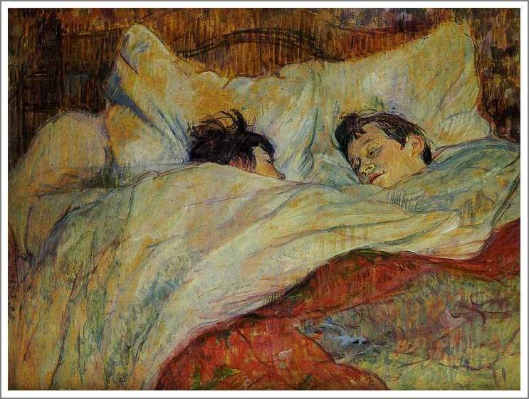 複製画 送料無料 プレミアム 学割 絵画 油彩画 油絵 複製画 模写ロートレック「ベッド」 F8(45.5×38.0cm) サイズ プレゼント ギフト 贈り物 名画 オーダーメイド 額付き