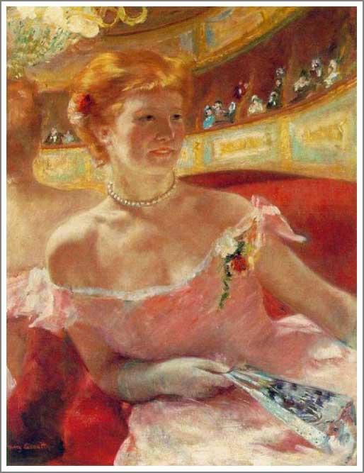 複製画 送料無料 プレミアム 学割 絵画 油彩画 油絵 複製画 模写メアリー・カサット「真珠の首飾りをつけた桟敷席のリディア」 F12(60.6×50.0cm)サイズ プレゼント ギフト 贈り物 名画 オーダーメイド 額付き