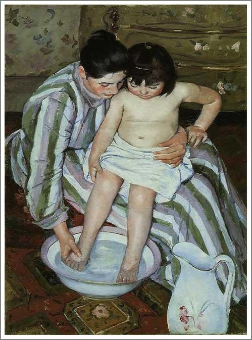 複製画 送料無料 プレミアム 学割 絵画 油彩画 油絵 複製画 模写メアリー・カサット「沐浴」 F10(53.0×45.5cm)サイズ プレゼント ギフト 贈り物 名画 オーダーメイド 額付き