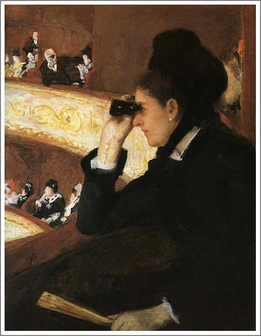 複製画 送料無料 プレミアム 学割 絵画 油彩画 油絵 複製画 模写メアリー・カサット「オペラ座にて」 F15(65.2×53.0cm)サイズ プレゼント ギフト 贈り物 名画 オーダーメイド 額付き
