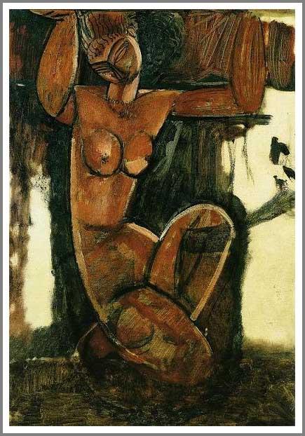 複製画 送料無料 プレミアム 学割 絵画 油彩画 油絵 複製画 模写アメデオ・モディリアーニ「裸のカリアティード」 F10(53.0×45.5cm)サイズ プレゼント ギフト 贈り物 名画 オーダーメイド 額付き