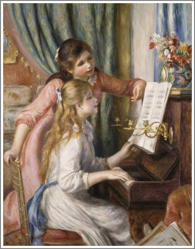 スーパーsale!オーダーメイド絵画が今だけこの価格!【】ルノアール(ルノワール)「ピアノに寄る娘たち」 F10(53.0×45.5cm)サイズ プレゼント ギフト 贈り物 名画 オーダーメイド 額付き:絵画販売のアート名画館