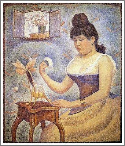 複製画 送料無料 プレミアム 学割 絵画 油彩画 油絵 複製画 模写ジョルジュ・スーラ「化粧する若い女」 F12(60.6×50.0cm)サイズ プレゼント ギフト 贈り物 名画 オーダーメイド 額付き