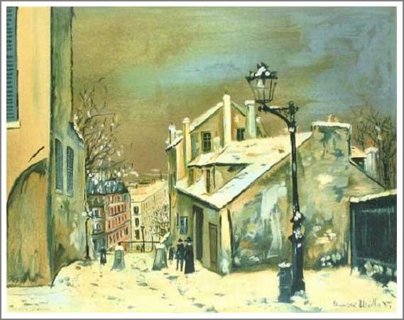 複製画 送料無料 プレミアム 学割 絵画 油彩画 油絵 複製画 模写 ユトリロ「モンマルトルのミミパンソンの家」 F10(53.0×45.5cm)サイズ プレゼント ギフト 贈り物 名画 オーダーメイド 額付き
