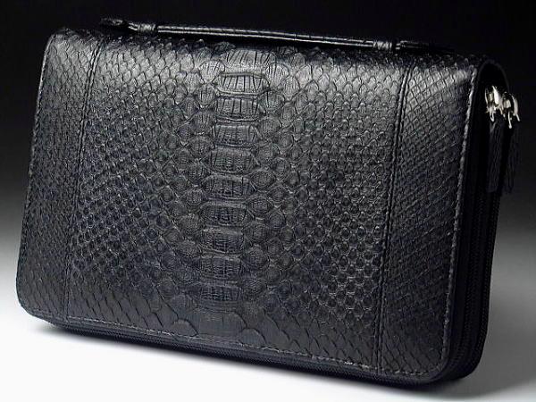 【バッグと財布の中間的存在】【一味違うスリムタイプ】本革 パイソン(ヘビ革) ダブルファスナー セカンドバッグ ブラック 黒