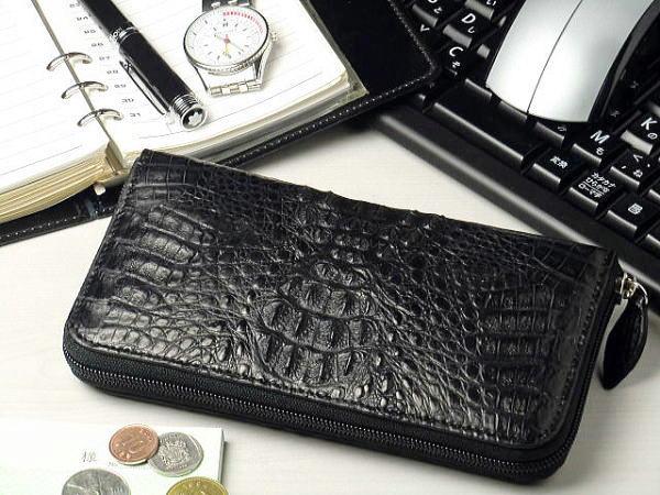 送料無料 本革 カイマンクロコダイル ラウンドファスナー 長財布 ブラック(黒)