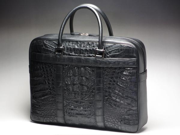 【豪華・贅沢・横幅37cm】本革 カイマンクロコダイル ビジネスバッグ ブラック(黒)