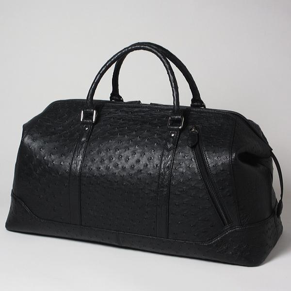 【旅行バッグ・旅行かばん】本革 オーストリッチ ボストンバッグ ブラック(黒)