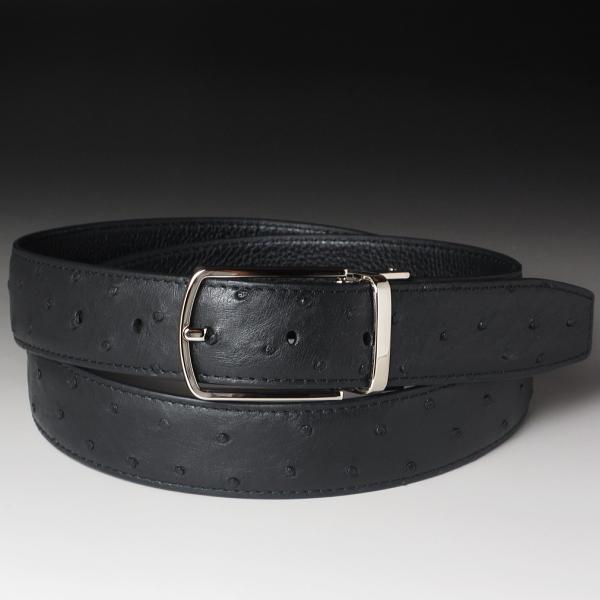 本革 オーストリッチ ベルト ブラック(黒)