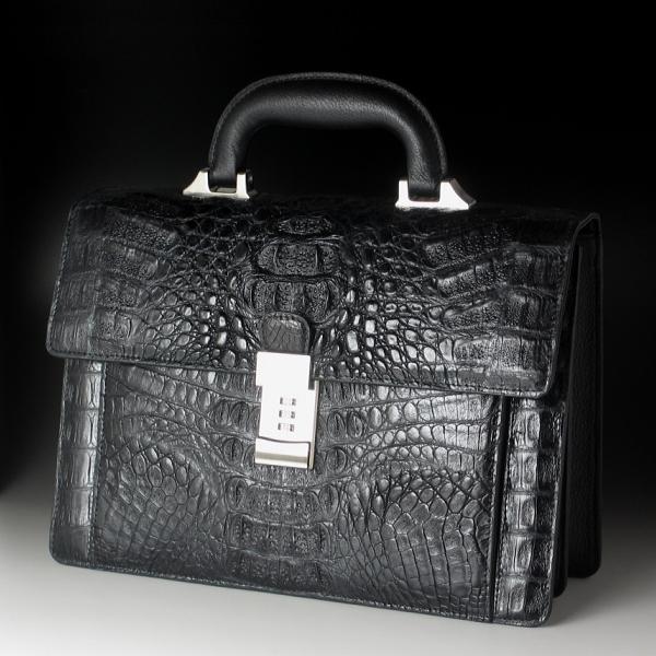 【貫禄の横幅30cm】本革 カイマンクロコダイル セカンドバッグ ブラック(黒)