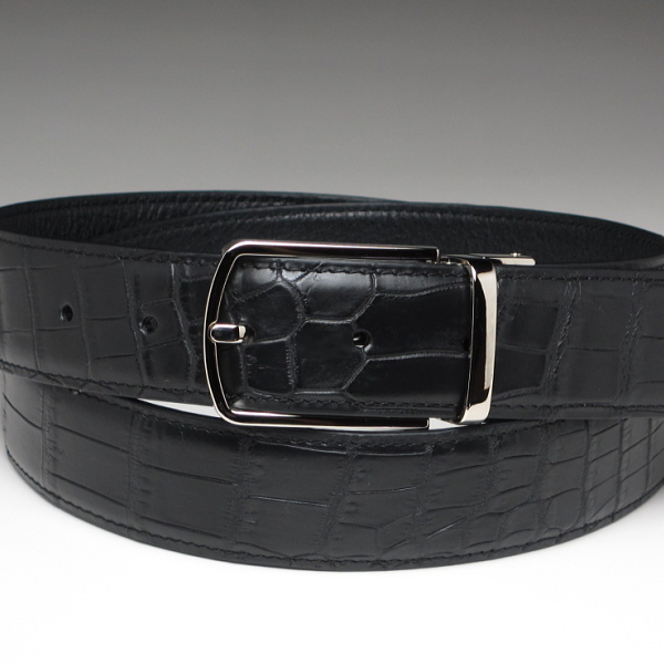 本革 クロコダイル ベルト 腹の革を使用 ブラック 黒
