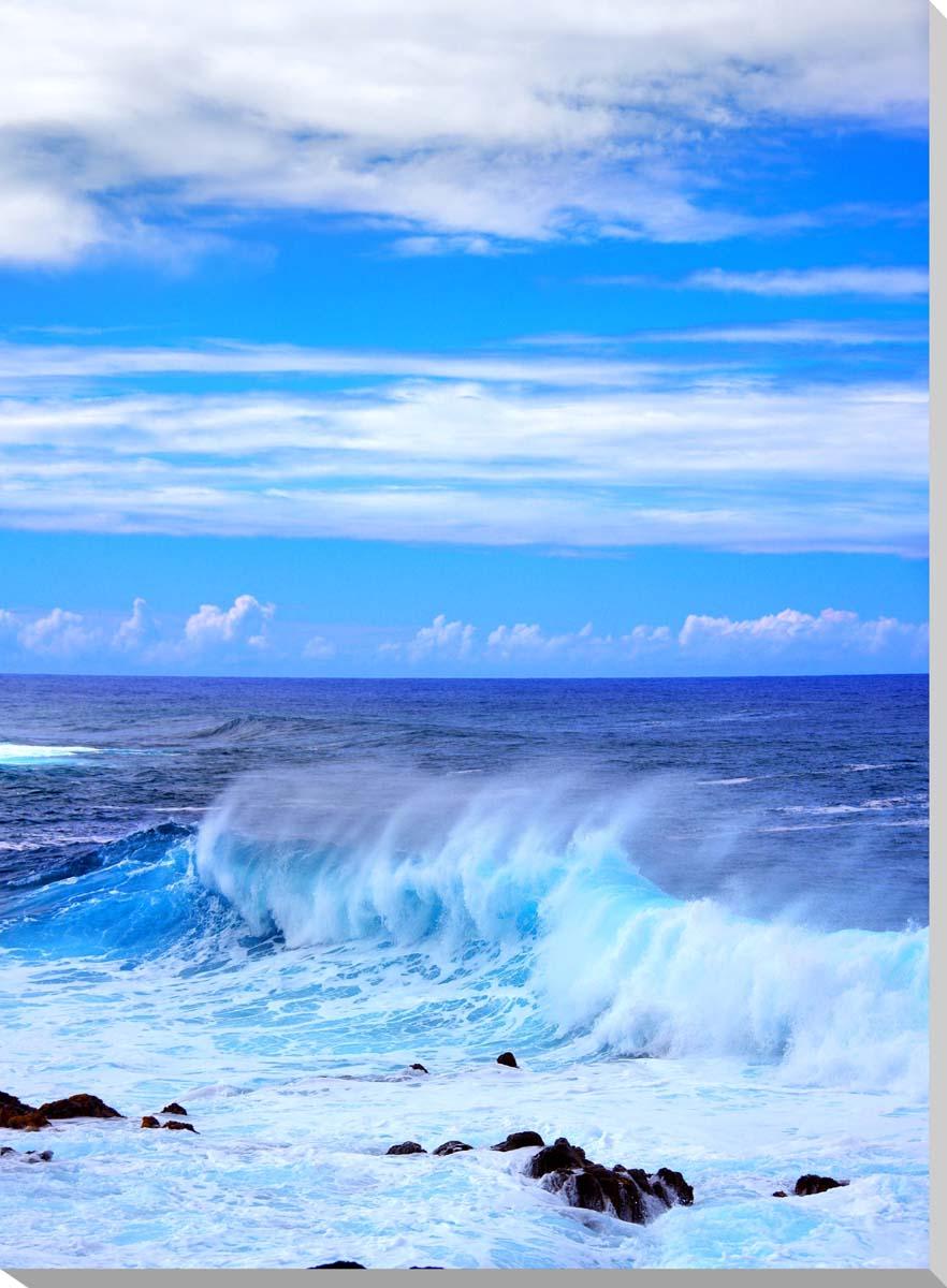 イースター島 エメラルドグリーンの海 風景写真パネル インテリア アート 壁掛け 33.3×24.2cm MOAI-08-F4【楽ギフ_名入れ】