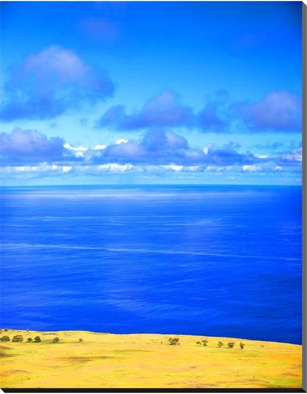 世界遺産イースター島 草原と青い海 風景写真パネル インテリア アート 壁掛け 45.5×33.3cm MOAI-09-P8