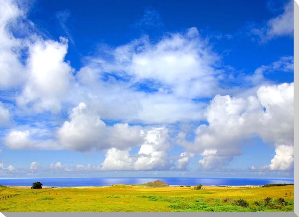 イースター島 空と海と草原 クロス地 風景写真パネル インテリア アート 壁掛け 33.3×24.2cm MOAI-10-F4【楽ギフ_名入れ】