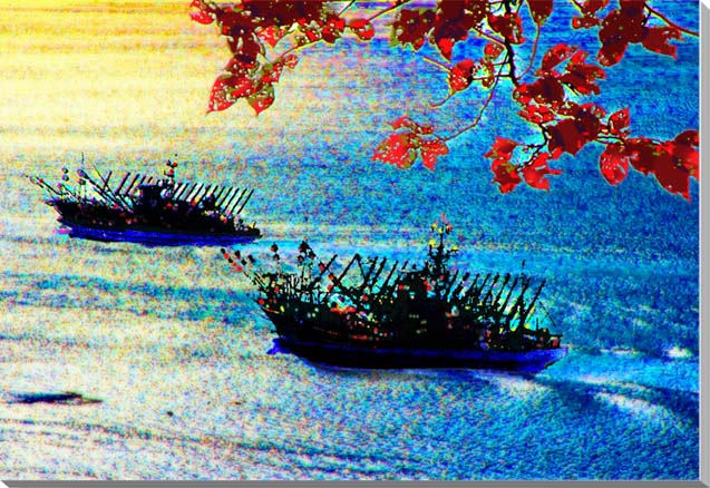 女川港 漁船 宮城 CG写真パネル 65.2×45.5cm CG-046-M15