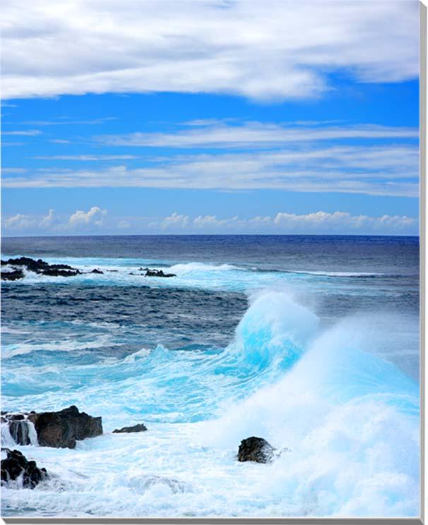 世界遺産イースター島 エメラルドグリーンの海 風景写真パネル インテリア アート 壁掛け 91×72.7cm MID-67-F30【楽ギフ_名入れ】