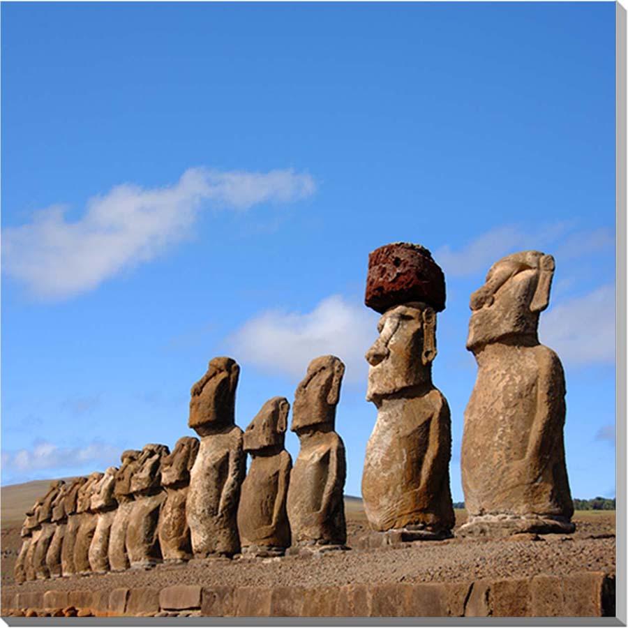 世界遺産イースター島 15体のモアイ像 風景写真パネル