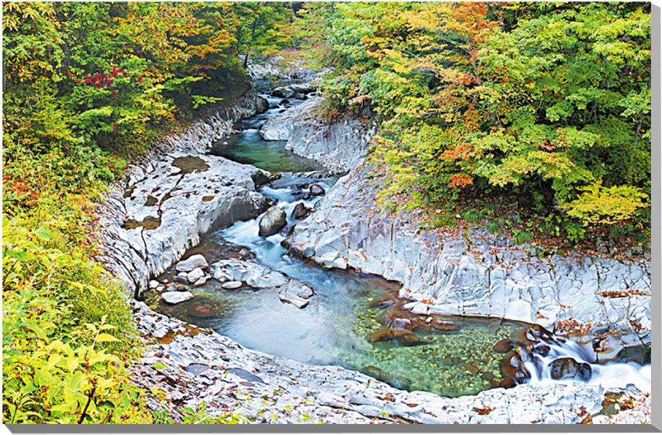 中津川渓谷 秋の紅葉 福島 風景写真パネル