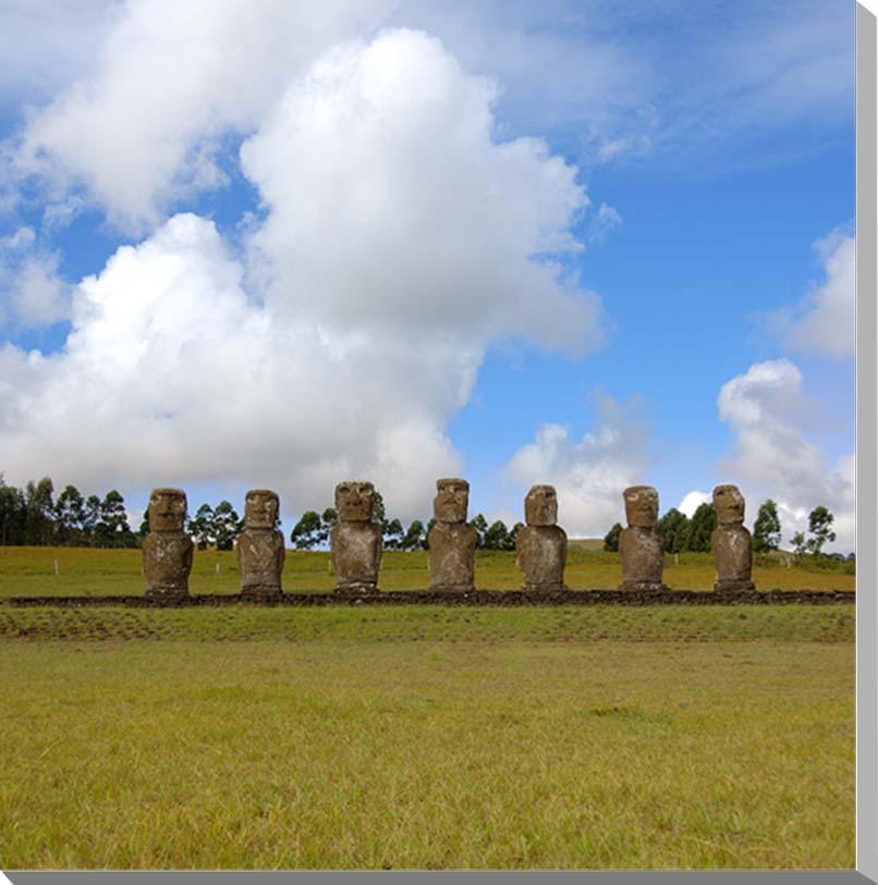 世界遺産イースター島 アフ・アキヴィの7体のモアイ 風景写真パネル 45.5×45.5cm S8  【楽ギフ_名入れ】