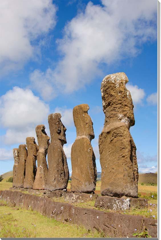 世界遺産イースター島 アフ・アキヴィの後ろ姿のモアイ 風景写真パネル 45.5×27.3cm M8  【楽ギフ_名入れ】