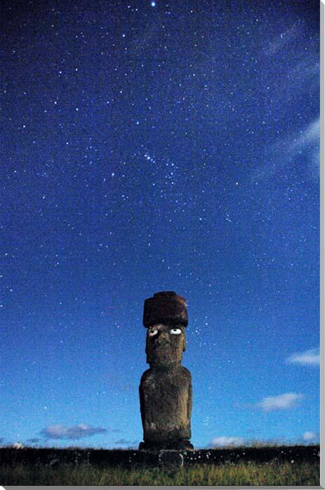 世界遺産イースター島 星空とモアイ 風景写真パネル 53×33.3cm M10  【楽ギフ_名入れ】