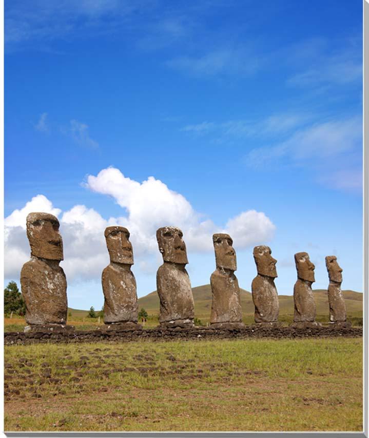 世界遺産イースター島 アフ・アキヴィの7体のモアイ 風景写真パネル 53×45.5cm F10  【楽ギフ_名入れ】