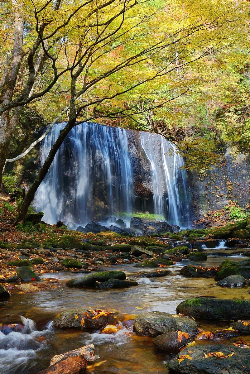 秋の紅葉 達沢不動滝 福島猪苗代 風景写真パネル 91×65.2cmTK-18-P30   【_名入れ】