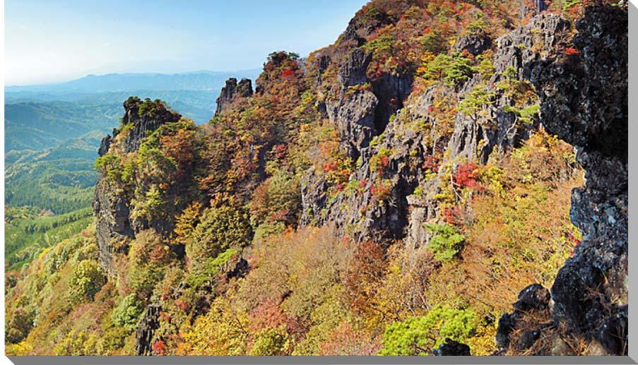 福島/霊山 秋の紅葉 風景写真パネル 100×58cmFUK-051-10058  【楽ギフ_名入れ】