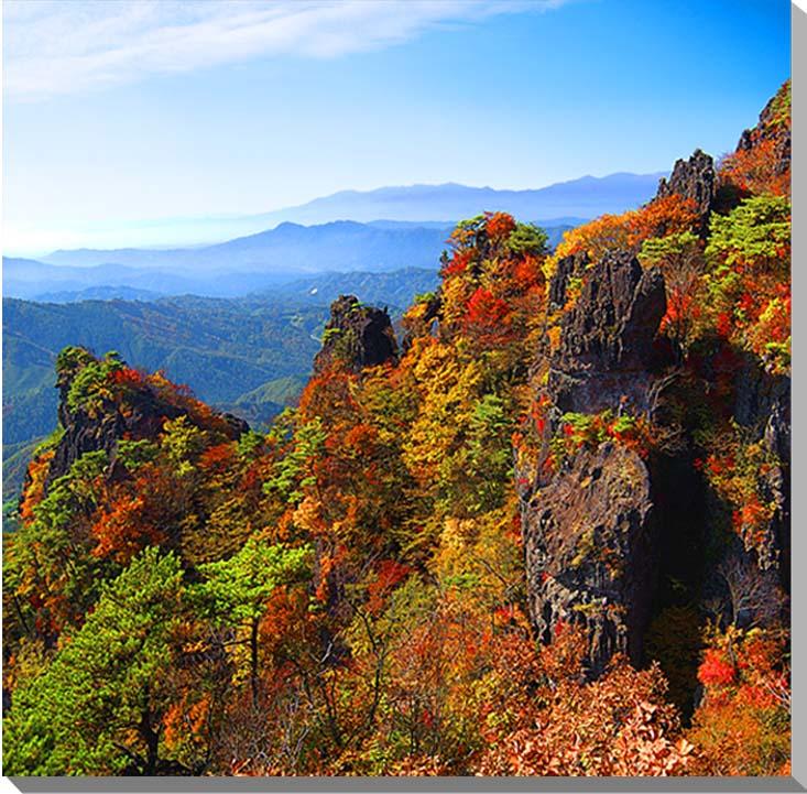 福島/霊山 秋の紅葉 風景写真パネル 72.7×72.7cmFUK-052-S20  【楽ギフ_名入れ】