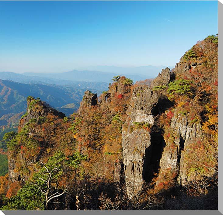 福島/霊山 秋の紅葉 風景写真パネル 72.7×72.7cmFUK-048-S20  【楽ギフ_名入れ】