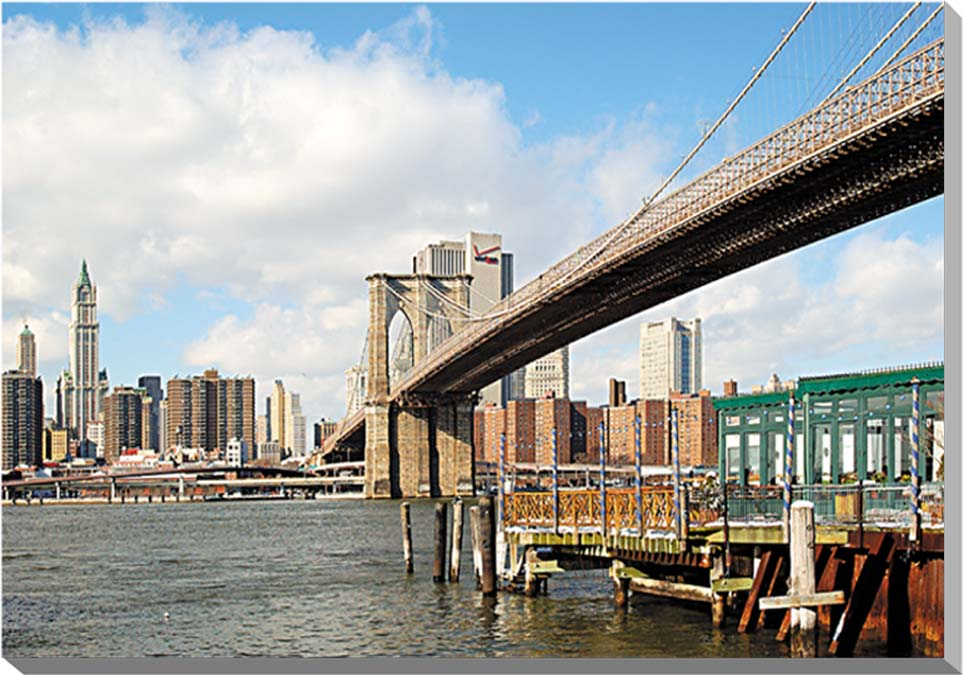 冬のニューヨーク ブルックリン橋 風景写真パネル 60.6×41cm NEW-01-M12  【楽ギフ_名入れ】