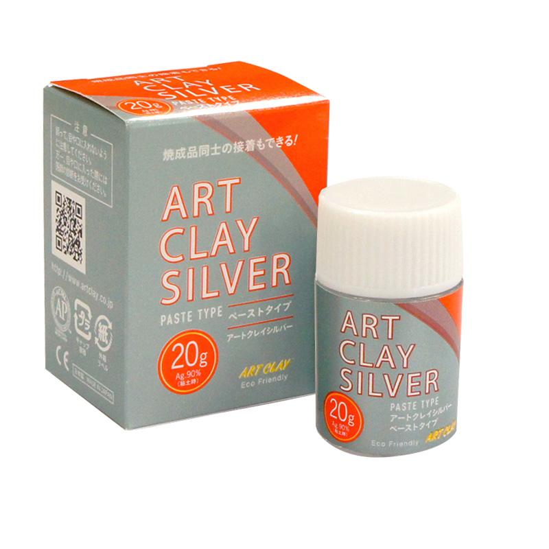 乾燥品 焼成品 純銀製金具の接着や修正に優れた銀ペースト アートクレイシルバー ペーストタイプ20g 優先配送 手作り シルバー アクセサリー 銀粘土 日本正規品 純銀粘土 クレイ