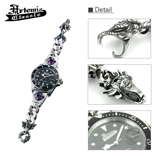 Premium / dark dragon silver breath watch AC quartz / watch /Artemis Classic/ Artemis classical music