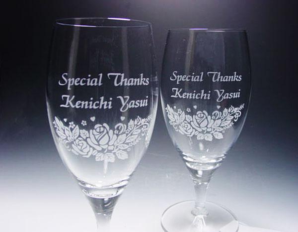 ビアグラス(ペア)ツイン薔薇柄-開店祝い、オープン祝い名入れギフト