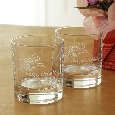 【名入れ】ロックグラス(ツインベル柄)ペア 【ガラス グラス 贈り物 記念品 オリジナル ギフト プレゼント おすすめ かっこいい おしゃれ オシャレ お洒落 ウィスキー 結婚式 結婚祝い 結婚内祝い 引出物 結婚記念】
