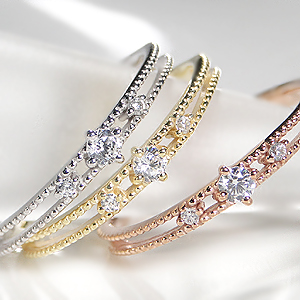 【ピンキーリング対応】K10YG/PG/WG ダイヤモンド アンティーク リング可愛い 華奢 4月 代引手数料無料 送料無料 品質保証書 ギフト 重ねづけ ミル打ち 人気 クラシカル 透かし