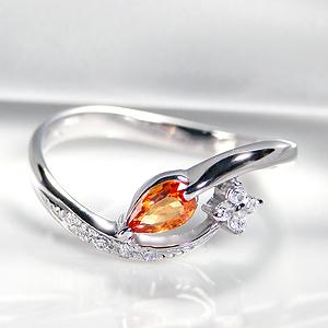 pt900 オレンジサファイア ダイヤモンドリング 可愛い 指輪 人気 ウェーブ ウエーブ サファイア サファイヤ オレンジ 橙 ダイア ペアシェイプ 露 涙 ドロップ ピンキー 9月 記念日 贈り物 ギフト 代引手数料無料 送料無料 刻印無料 プレゼント