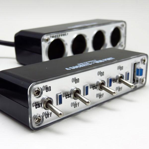 セパレートトグルスイッチ付き 4連シガーソケット DC12V車 USBポート 2.1A 付 BS-500 ブレイス 増設 新発売 4連ソケット パイロットランプ 年間定番
