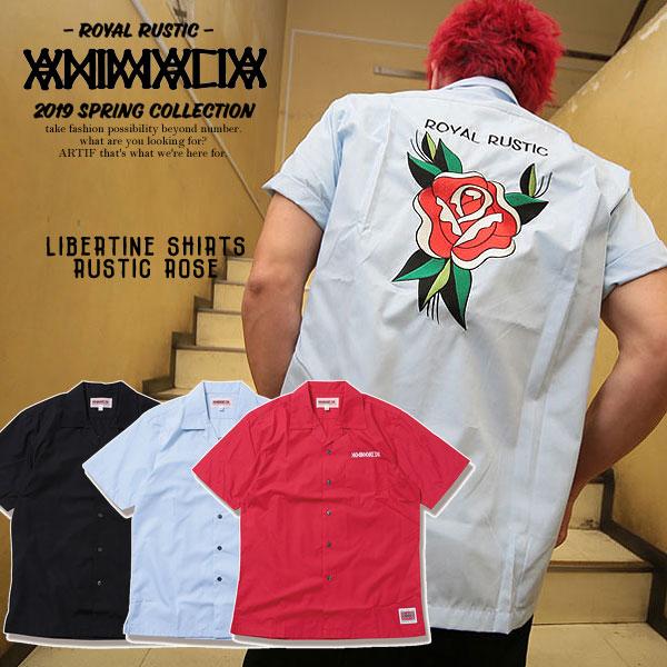 ANIMALIA アニマリア LIBERTINE SHIRTS : RUSTIC ROSE メンズ シャツ 半袖 バラ ローズ 薔薇 刺繍 送料無料 ストリート