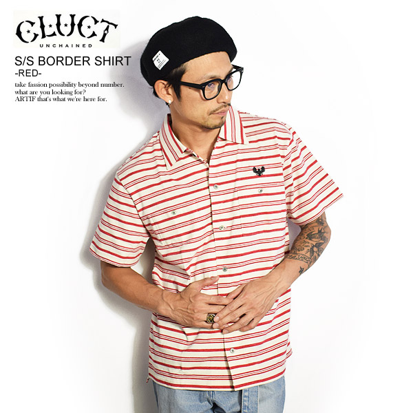 30%OFF SALE セール CLUCT クラクト S/S BORDER SHIRT -RED- cluct メンズ シャツ 半袖 ボーダー 刺繍 イーグル カットソー トップス 送料無料 ストリート 即日発送