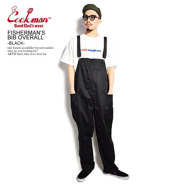COOKMAN クックマン オーバーオール 着後レビューで 送料無料 FISHERMAN'S BIB OVERALL 輸入 -BLACK- ストリート パンツ メンズ サロペット フィッシャーマンズオーバーオール ファッション