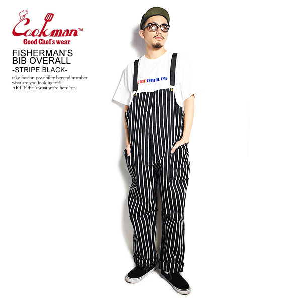 COOKMAN 人気 クックマン オーバーオール FISHERMAN'S BIB 大放出セール OVERALL -STRIPE BLACK- フィッシャーマンズオーバーオール 送料無料 ファッション サロペット メンズ ストリート パンツ