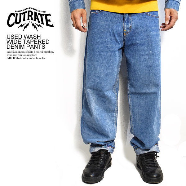 CUTRATE カットレイト USED WASH WIDE TAPERED DENIM PANTS cutrate メンズ パンツ ボトムス デニムパンツ ジーンズ 送料無料 ストリート