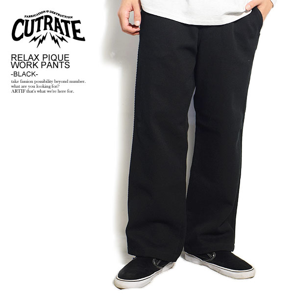CUTRATE カットレイト RELAX PIQUE WORK PANTS -BLACK- cutrate メンズ パンツ ロングパンツ 送料無料 ストリート
