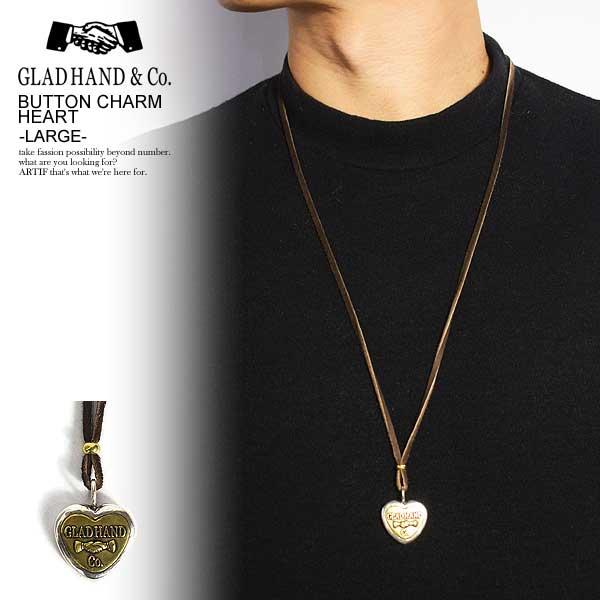 GLAD HAND グラッドハンド BUTTON CHARM HEART -LARGE- メンズ ネックレス ボタンチャーム コンチョ アクセサリー 送料無料 おしゃれ かっこいい カジュアル ファッション ストリート gladhand