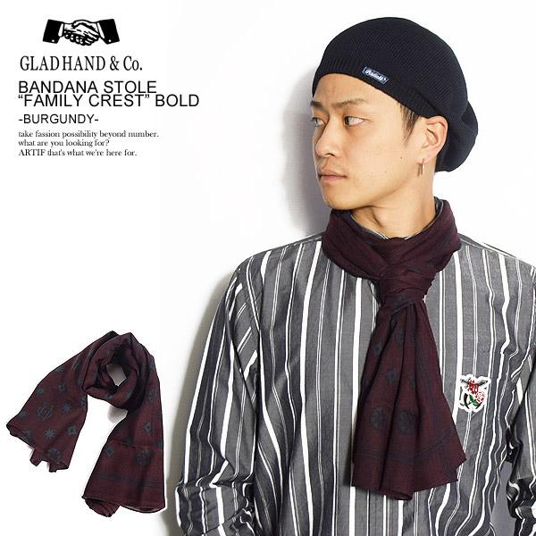 GLAD HAND グラッドハンド GH-BANDANA -FAMILY CREST- -BURGUNDY- メンズ バンダナ ストール スカーフ アクセサリー ストリート 送料無料 おしゃれ かっこいい カジュアル ファッション gladhand